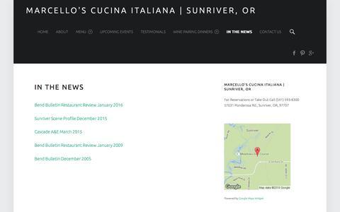 Screenshot of Press Page marcellos-sunriver.net - In the News – Marcello's Cucina Italiana | Sunriver, OR - captured Feb. 12, 2016