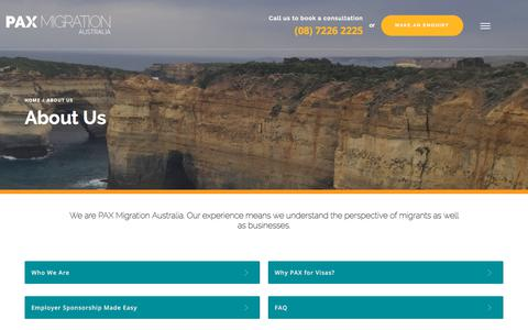 Screenshot of About Page paxmigration.com.au - About Us - PAX Migration Agents Adelaide - captured Sept. 25, 2018