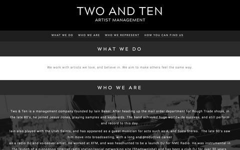 Screenshot of Home Page twoandten.net - Two and Ten - - captured Oct. 18, 2018