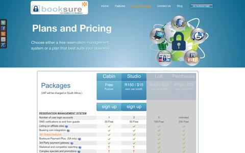 """Screenshot of Pricing Page booksure.com - BookSureâ""""¢ Online Booking System Plans and Pricing - captured July 30, 2016"""