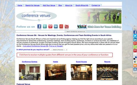 Screenshot of Home Page conference-venues.co.za - Conference Venues SA - Venues for Meetings, Events and Conferences - captured Nov. 10, 2016