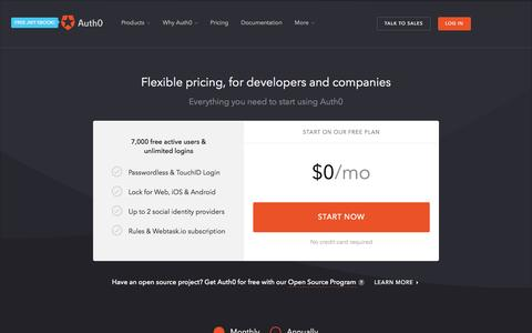 Screenshot of Pricing Page auth0.com - Pricing - Auth0 - captured Nov. 3, 2016