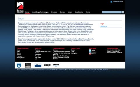 Screenshot of Terms Page scapatech.com - Legal | Scapa Technologies - captured Oct. 4, 2014