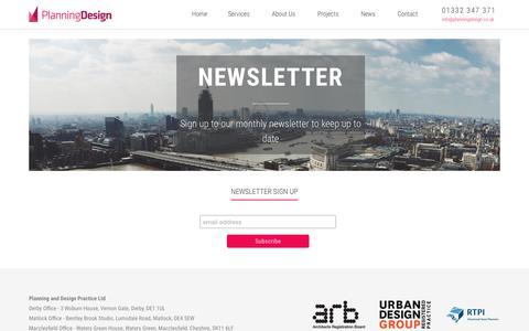 Screenshot of Signup Page planningdesign.co.uk - Sign up to our newsletter - Planning Design - captured Nov. 5, 2018