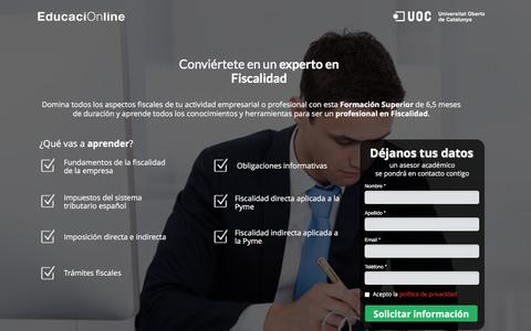 Screenshot of Landing Page educacionline.com - Curso de Fiscalidad Online | EducaciOnline - captured Oct. 20, 2016