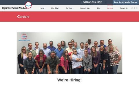 Screenshot of Jobs Page optimizesocialmedia.net - Careers -Optimize Social Media - captured Nov. 29, 2016