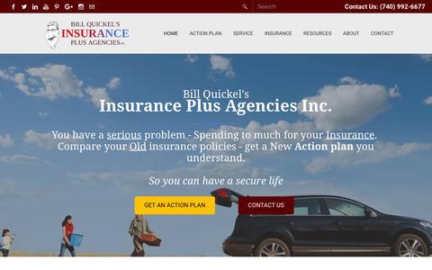 Screenshot of Home Page insurance-plus.com - Bill Quickel's - Insurance Plus Agencies Inc. - Auto Insurance - Home - Business - Medicare - Travel - Pomeroy, OH - captured Dec. 4, 2018