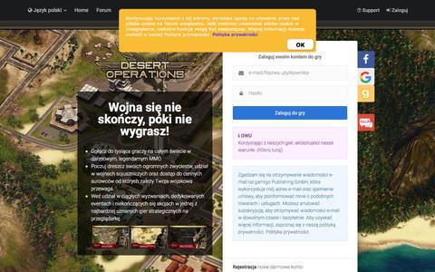 Screenshot of Login Page gamigo.com - Desert Operations - Bezpłatna strategiczna gra wojenna - captured Sept. 24, 2018