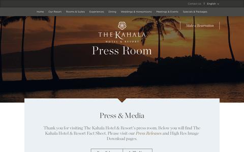 Screenshot of Press Page kahalaresort.com - Press Room & News - Luxury Hawaii Hotel   The Kahala Hotel & Resort - captured Oct. 19, 2018
