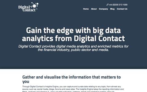 Screenshot of Home Page digitalcontact.co.uk - Digital Contact - Big Data Analytics Made Easy - captured Sept. 30, 2014