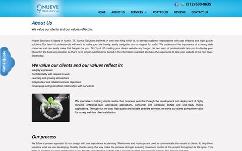 Screenshot of About Page nuevesolutions.com - Software and Web Development Company in Austin, TX | Austin Web developer specialized in Wordpress, Magento and PHP - captured Aug. 27, 2016