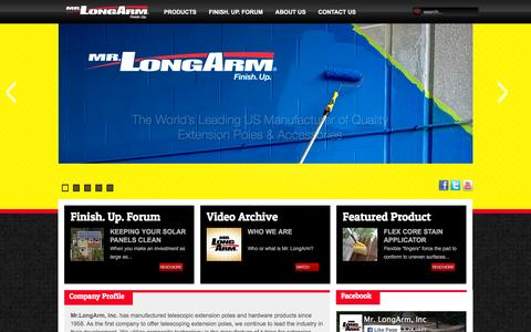 Screenshot of Home Page mrlongarm.com - Mr. LongArm Telescoping Extension Poles & Tools For Painting, Staining, Cleaning, Window Washing - captured Feb. 14, 2016