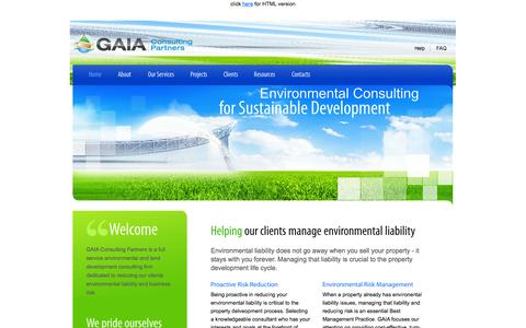 Screenshot of Home Page gaiacp.com - GAIA Consulting Partners - Home - captured Oct. 1, 2014