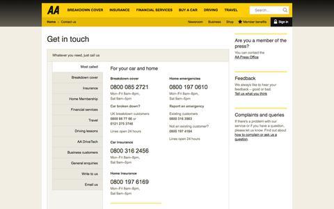 Screenshot of Contact Page theaa.com - Contact the AA easily | AA - captured Sept. 18, 2014