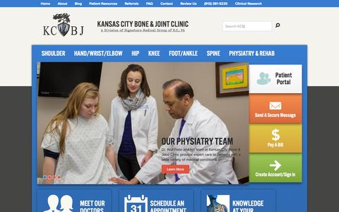 Screenshot of Home Page kcbj.com - Kansas City Bone and Joint Clinic | Overland Park, KS - captured Oct. 6, 2014