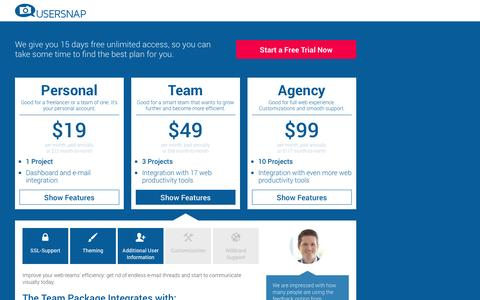 Screenshot of Pricing Page usersnap.com - Usersnap Pricing and Plans - captured Sept. 17, 2014