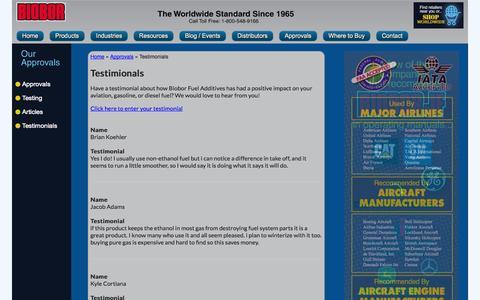 Screenshot of Testimonials Page biobor.com - Testimonials - Approvals - captured Sept. 30, 2014