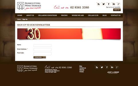 Screenshot of Signup Page rushcutterswinestorage.com.au - Wine eNewletter Sign Up - Rushcutters Wine Storage – Sydney - captured Oct. 9, 2014