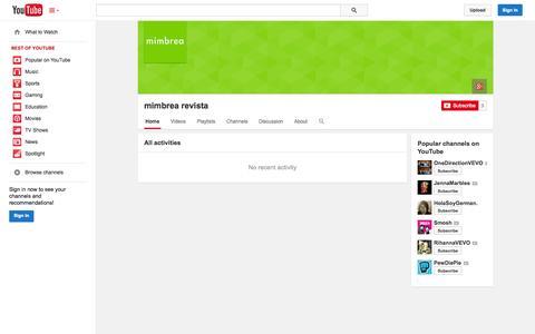 Screenshot of YouTube Page youtube.com - mimbrea revista  - YouTube - captured Oct. 26, 2014
