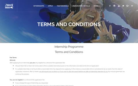 Screenshot of Terms Page internnzoz.com - Terms and Conditions - Intern NZ & Intern OZ - captured Oct. 12, 2018