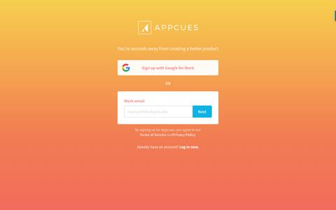 Screenshot of Signup Page appcues.com - Register Your Account | Appcues - captured Oct. 28, 2017