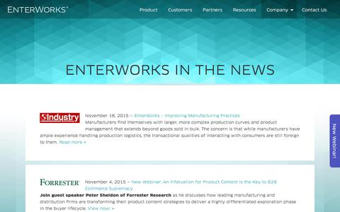 Screenshot of Press Page enterworks.com - EnterWorks in the News | EnterWorks - captured Dec. 10, 2015
