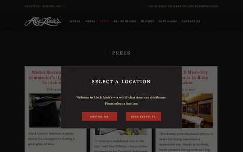 Screenshot of Press Page abeandlouies.com - News and Updates │ Abe & Louie's │ Steakhouse Restaurant - captured Sept. 11, 2018