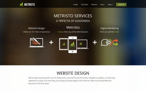 Screenshot of Services Page metristo.com - Metristo Services - captured Oct. 27, 2014