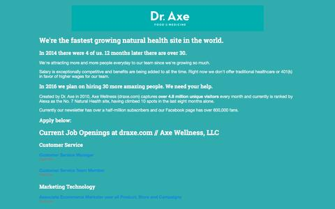 Screenshot of Jobs Page greenhouse.io - Jobs at draxe.com // Axe Wellness, LLC - captured Jan. 18, 2016