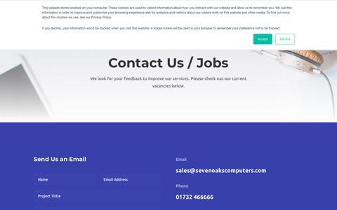 Screenshot of Contact Page sevenoakscomputers.com - Contact / Jobs - Sevenoaks Computers - captured Oct. 20, 2018