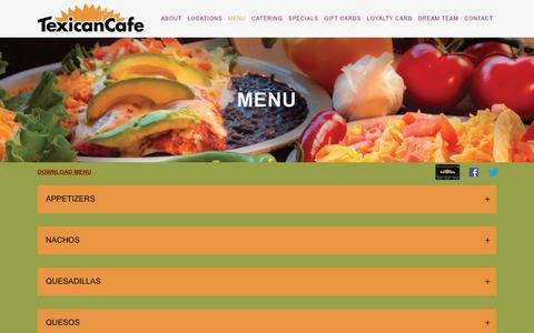 Screenshot of Menu Page texicancafe.com - Texican Cafe |   Menu - captured Oct. 24, 2018