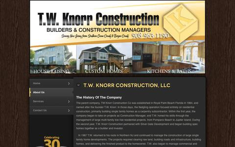 Screenshot of About Page twknorr.com - About Us | T.W Knorr Construction - captured Oct. 27, 2014