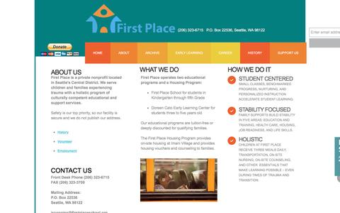 Screenshot of About Page firstplaceschool.org - About - captured Nov. 25, 2016