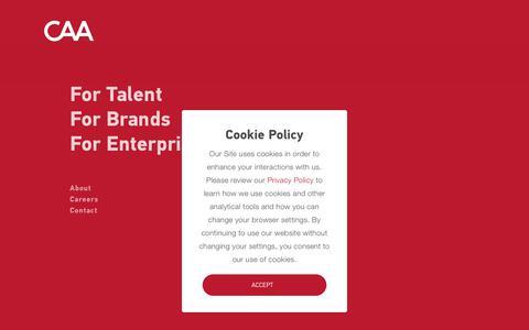 Screenshot of Home Page caa.com - Creative Artists Agency | CAA - captured July 12, 2018
