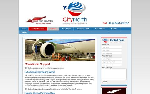 Screenshot of Support Page citynorth.eu - Aircraft Operational Support | City North - captured Sept. 28, 2018