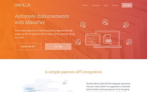 Screenshot of dwolla.com - Send Mass Payments using our API or tools - captured Dec. 16, 2016