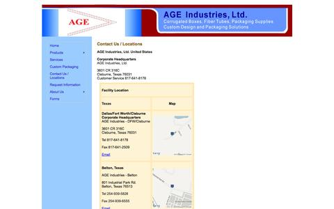 Screenshot of Locations Page ageindustries.com - AGE Industries - Contact Us / Locations - captured Oct. 4, 2014