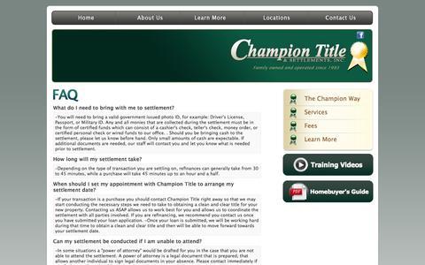 Screenshot of FAQ Page championtitle.com - Champion Title & Settlements, Inc. | Title Company | Virginia | Maryland | D.C. - captured Oct. 2, 2014