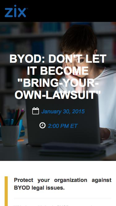 "Webinar | BYOD: Don't Let it Become ""Bring-Your-Own-Lawsuit"""