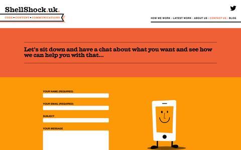 Screenshot of Contact Page shellshockuk.com - Contact Shelli Walsh & ShellShock Ltd - captured Aug. 12, 2015