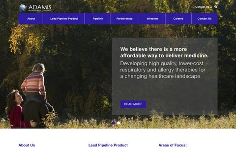 Screenshot of Home Page adamispharmaceuticals.com - Home - Adamis - captured Feb. 5, 2016