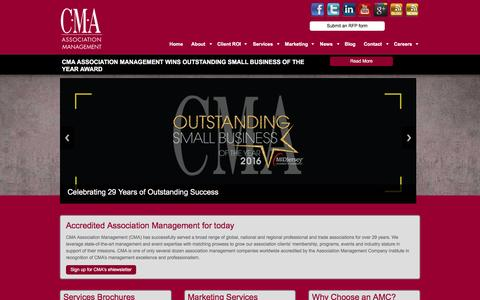 Screenshot of Home Page thinkcma.com - CMA Accredited Association Management | Expect Results - captured Oct. 6, 2016
