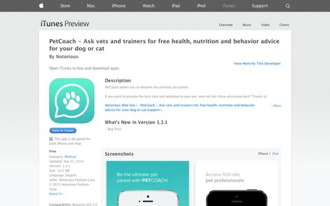 Screenshot of iOS App Page apple.com - PetCoach - Ask vets and trainers for free health, nutrition and behavior advice for your dog or cat on the App Store on iTunes - captured Oct. 23, 2014