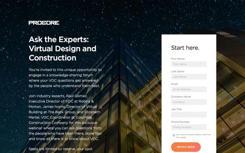 Screenshot of Landing Page procore.com - Ask the Experts: Virtual Design and Construction - captured Sept. 2, 2017