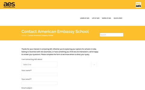 Screenshot of Contact Page aes.ac.in - Contact American Embassy School | American Embassy School - captured Dec. 21, 2018