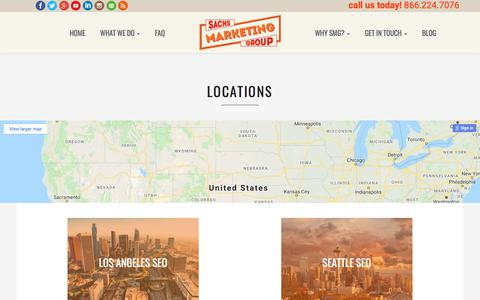 Screenshot of Locations Page sachsmarketinggroup.com - Locations - Sachs Marketing Group - captured July 27, 2018