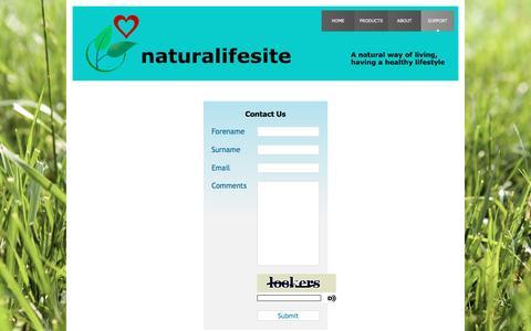 Screenshot of Support Page naturalifesite.com - naturalifesite - support - captured Jan. 10, 2016