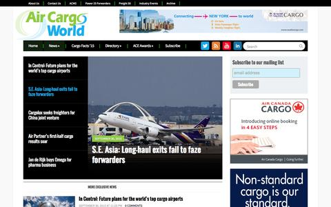 Screenshot of Home Page aircargoworld.com - Air Cargo World | The Source for Airfreight & Logistics - captured Oct. 1, 2015