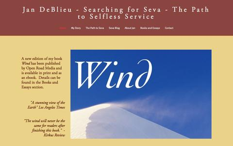 Screenshot of Home Page jandeblieu.com - Jan DeBlieu  -  Searching for Seva - The Path to Selfless Service - captured Oct. 10, 2015