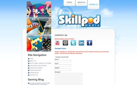 Screenshot of Contact Page skillpodmedia.com - Contact Us «  SkillPod Media – Online, Mobile Casual & Social Gaming Solutions, White Label Games Platforms - captured Nov. 5, 2014